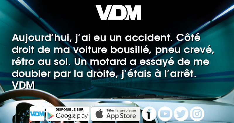 vdm aujourd hui j ai eu un accident c t droit de ma voiture bousill pneu crev r tro au. Black Bedroom Furniture Sets. Home Design Ideas